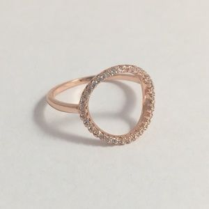Open circle rose tone clear cz ring size 6.5